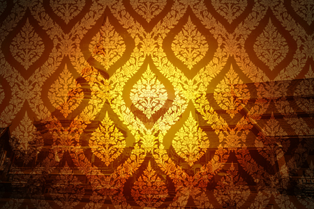 Thai style beautiful traditional pattern overlay with temple religious golden background