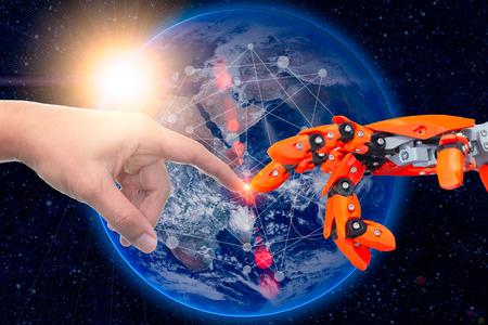 Robotertechnik, die mit Menschen für die Zukunft auf der ganzen Welt verbunden ist. Elemente dieses von der NASA bereitgestellten Bildes.