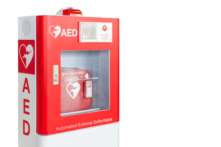 AED box or Automated External Defibrillator medical first aid device isolated on white background Foto de archivo