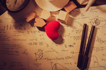 love math equations times thinking calculation theory concept vintage tone. 版權商用圖片