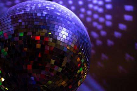 disco ball glass in the party colorful dancing room.