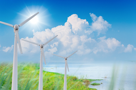 row of wind turbine with green sky environment friendly clean energy power generator concept.