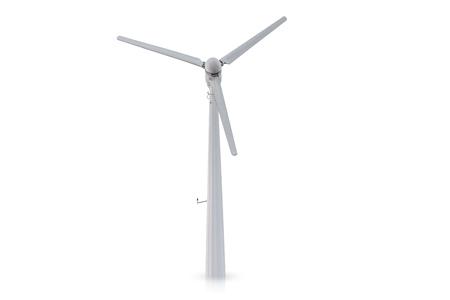 Windkraftanlage isoliert auf weißem Hintergrund.