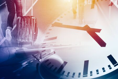 Business and travel times flight travel to destination timing clock concept background Stock fotó