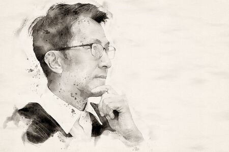 glasses man thinking with water color painting effect.