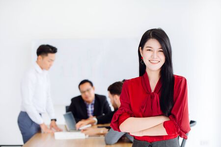 working woman manager smile happy in office for business people working together
