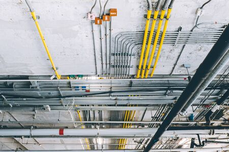 ceiling cable pipe good manage in construction building network electricity and water pipeline tube Stok Fotoğraf
