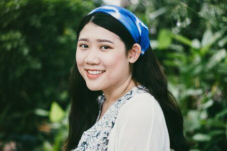 Girl teen plus size smile happy Asian race vintage colour tone
