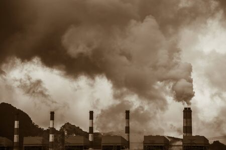 Air pollution crisis of danger PM 2.5 carbon dioxide dust smoke from coal power plant Stock fotó