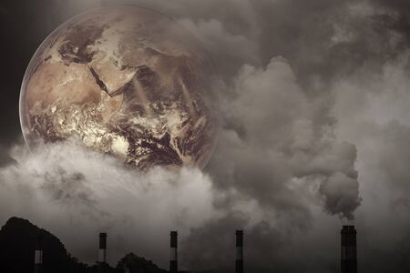 Earth with Air pollution crisis toxic sulfur smoke from coal power plant industrial carbon emit concept.