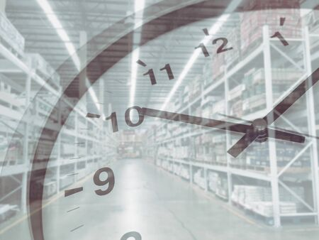 Stock inventory times clock fast shipping and logistic concept
