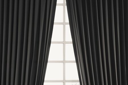 Black windows and curtains home interior natural sunlight background.
