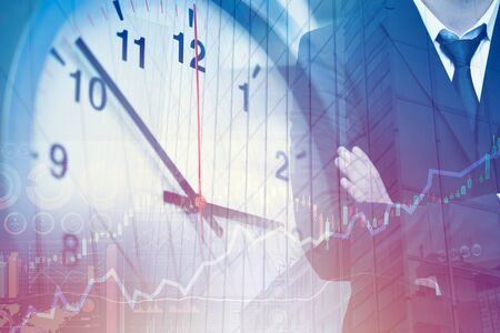 Business times high efficiency management and working hours concept. Clock face overlay with businessman.
