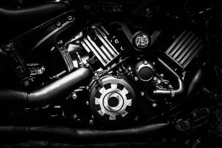 Motorcycle engine block closeup chopper bike vintage tone industrial arts and design.
