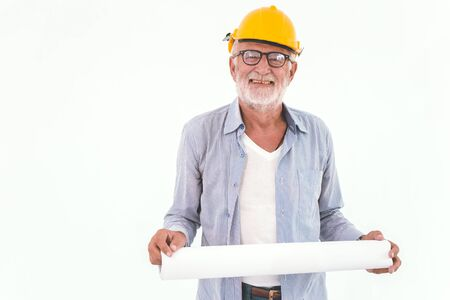 portrait of senior home engineer builder prosessional worker isolated on white background 스톡 콘텐츠