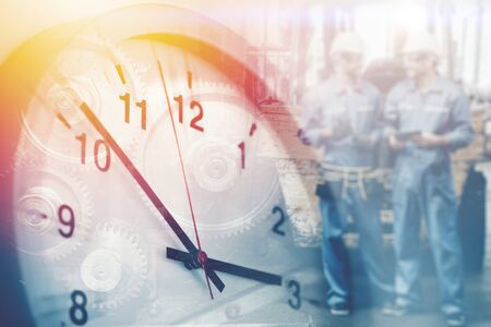 worker working times, working hours of labor indutry factory time concept.
