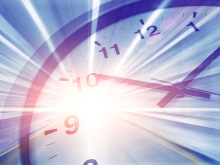 fast speed time clock moving forward to brake through timing concept.