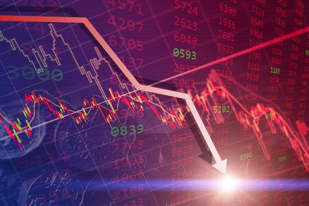 Bearish stock financial, bear market chart falling prices down turn from global economic and financial crisis.