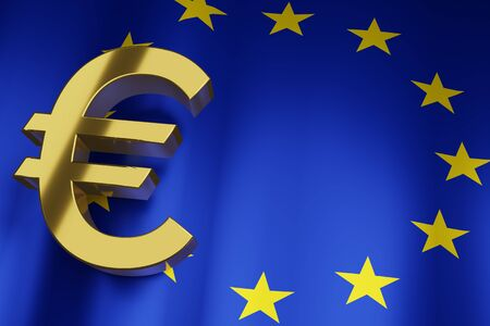 EUR Euro Currency Sign with European Union National Flag background for Business Financial, 3D Rendering with copy space.