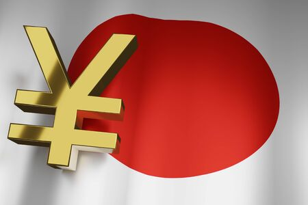 JYP Yen Currency Sign of Japanese Money Exchange on Japan Flag for Business Financial background, 3D Rendering.