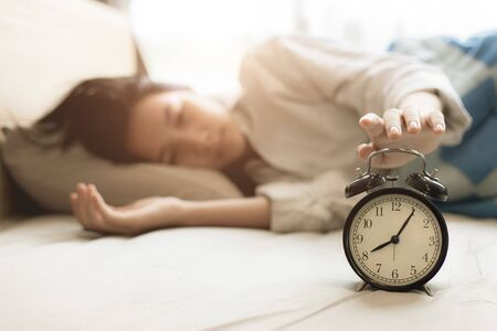 Sleeping time and wake up in the morning comfortable on bed at home