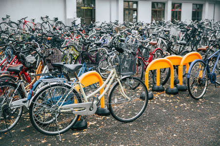 Crowded bicycle at Bicycle parking in Japan due to outbreak of the virus Coronaovirus(Covid-19) causes people to become more popular with cycling., December 2017, Osaka, JAPAN.