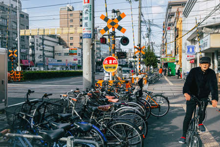 Crowded bicycle at Bicycle parking in Japan due to outbreak of the virus Coronavirus(Covid-19) causes people to become more popular with cycling., December 2017, Osaka, JAPAN. Sajtókép