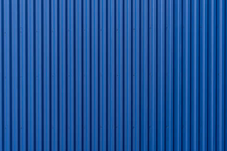 Striped Blue wave steel metal sheet cargo container line industry wall texture pattern for background. Stockfoto