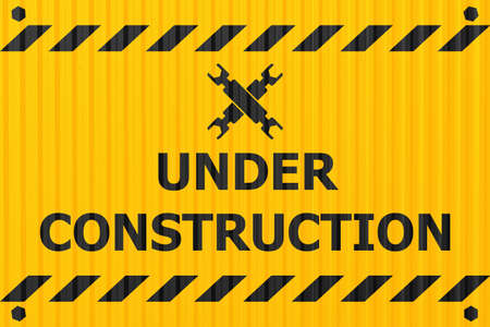 underconstruction banner logo label for construction site or website down notify warning industry steel plate style design.