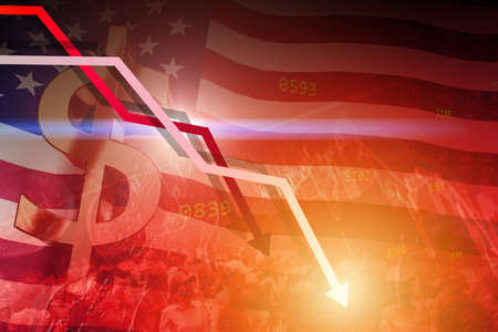 American dollar value fell down and low interest exchange stock value rate from economic recession sluggish and protest problem concept.