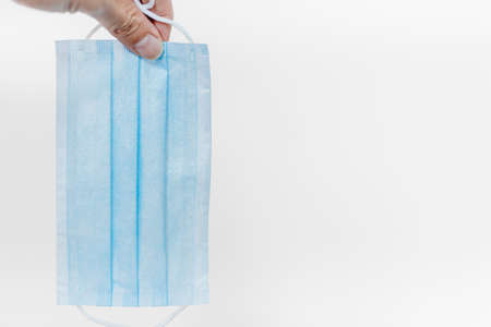 Disposable face mask or paper face shield for air filter protect from virus or smoke dust pollution on white background