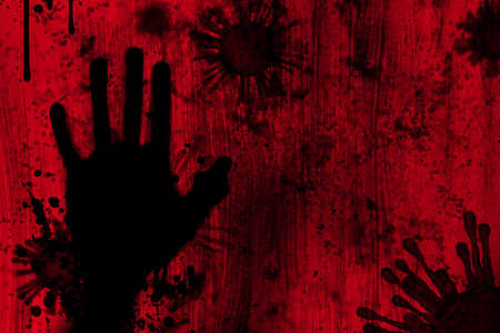 Blood and gore stain splash with hand shadow and dust noise effect look scary and horrible represent danger of virus outbreak kill people death concept. 免版税图像