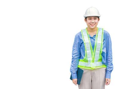 Asian woman worker industry staff foreman engineer waring safety vest reflective strip helmet hardhat smiling isolated on white background