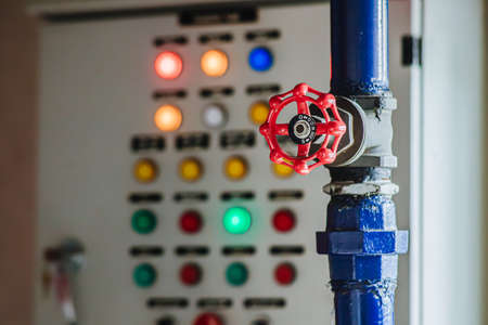 water oil gas valve with pump control panel background