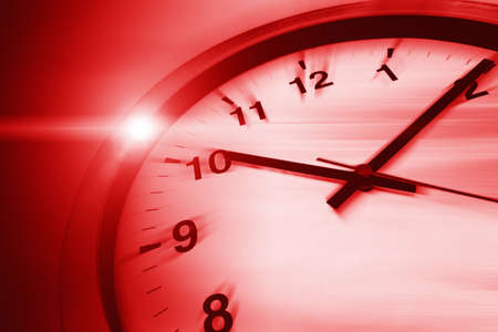 Fast speed dangerous times clock virus crisis hours concept, red color tone.