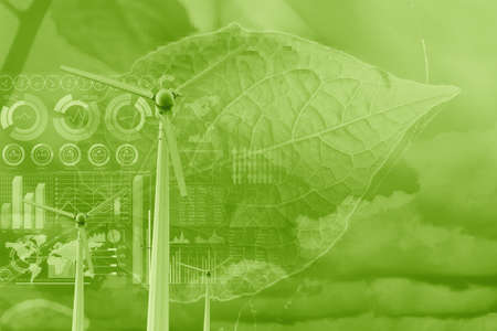 wind turbine overlay with plant leaf and data infographic for eco green energy environmental friendly power technology data science and research background concept 免版税图像