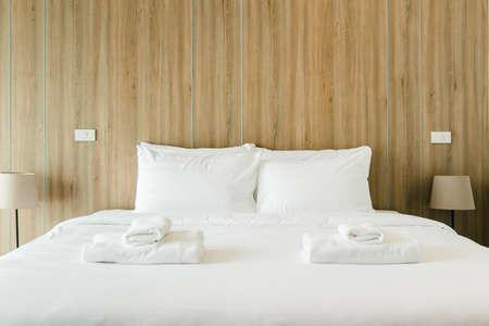 Clean hotel bedroom wooden wall vintage retro cozy style