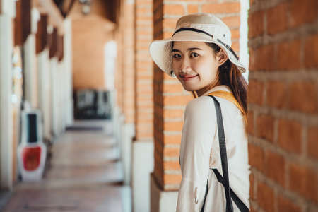 Asian girl teen cute hipster style fashion portrait holiday summer travel  dressing vintage color film tone
