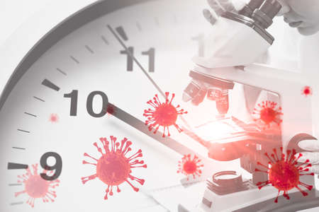 Scientists looking at microscope overlay with time clock and virus for Coronavirus(Covid-19) vaccine research concept.