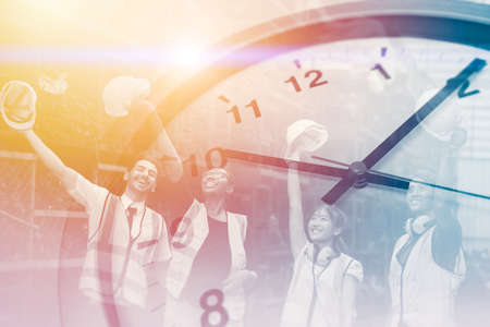 Happy times worker for good working hours, factory time clock overlay win success cheerful labor hours in industry factory
