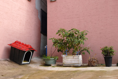 small roof: Small red roof dog house and pots in the yard