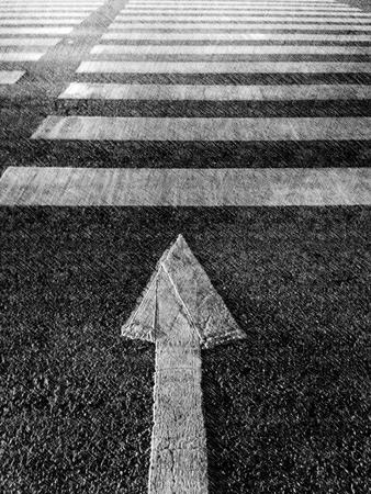 senda peatonal: flechas y el paso de peatones