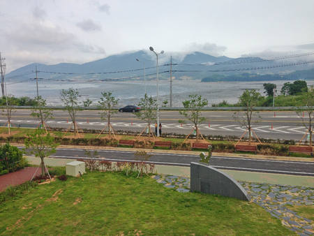 foreshore: foreshore and road and mountain