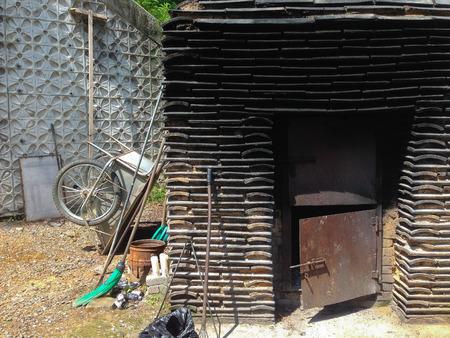 incinerator: small waste incinerator in the temple