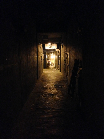 backstreet: Old alleyways of the dark night Stock Photo