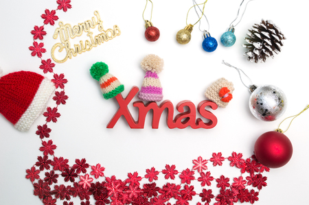 merry christmas text and christmas decorations on white background stock photo 91133237