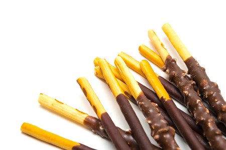 Chocolate Filled Biscuit Sticks on White Background