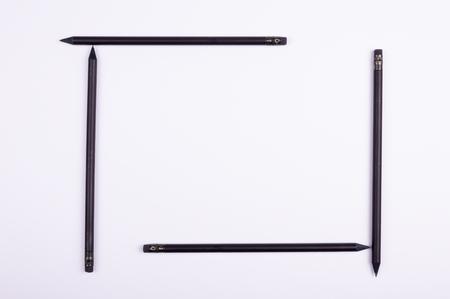 square frame at black pencils Stock Photo
