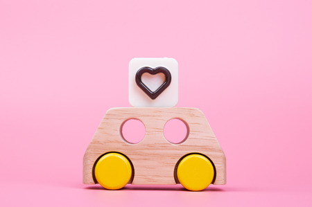 heart engraved in chocolate on toy car