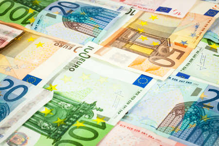 Euro banknotes background pattern